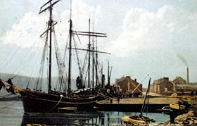 Grain ships at Annan Harbour, circa 1880