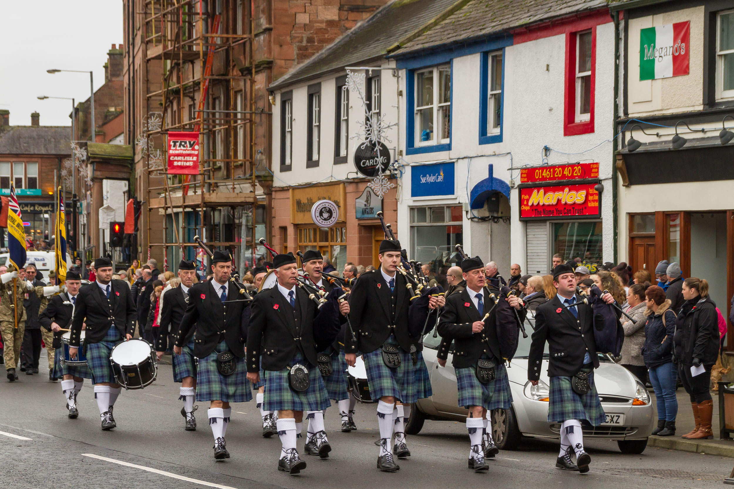 Royal Burgh of Annan Pipe Band at the Remembrance Day Parade in Annan on Sunday 13th of November 2016