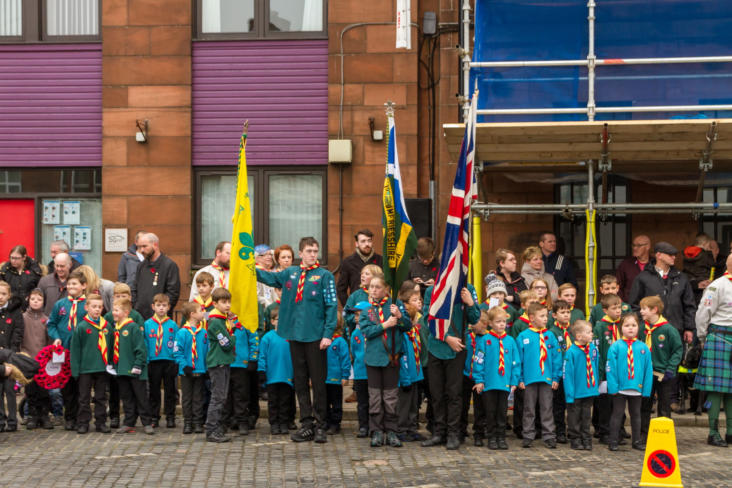 Scouts, Cubs and Beavers at the Remembrance Day Parade in Annan on Sunday 13th of November 2016