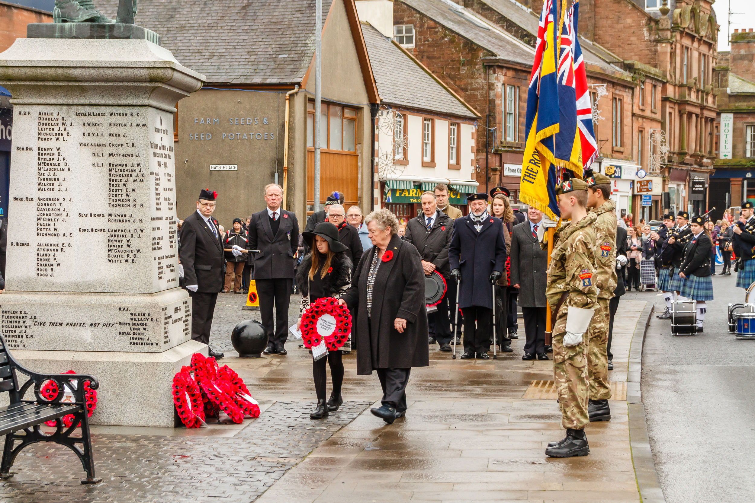 Joyce Wylie and Lucy Cliffe at the Remembrance Day Parade in Annan on Sunday 13th of November 2016
